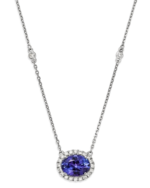 Bloomingdale's Tanzanite Oval & Diamond Halo Pendant Necklace in 14K White Gold, 18 - 100% Exclusive