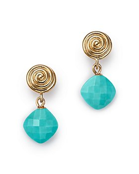 Bloomingdale's - Turquoise Swirl Drop Earrings in 14K Yellow Gold - 100% Exclusive