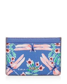 Furla - Babylon Floral Print Small Embossed Leather Card Case