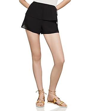 Bcbgmaxazria Satin-Back Crepe & Lace Shorts