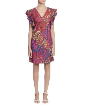 Multicolor Fern-Print Shoulder-Ruffle Dress, Layered Palms