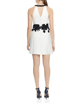 HALSTON HERITAGE - Floral-Embroidered A-Line Mini Dress