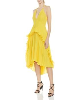 HALSTON HERITAGE - Pleated Ruffled Halter Dress