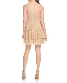 HALSTON HERITAGE - Tiered Back Strap-Detail Mini Dress