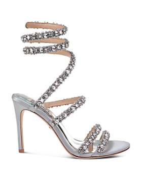 Badgley Mischka - Women's Peace Embellished Satin Ankle Wrap High-Heel Sandals