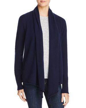 AQUA Cashmere Drape Front Cashmere Cardigan - 100% Exclusive in Peacoat
