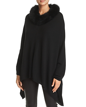 C By Bloomingdale's C BY BLOOMINGDALE'S FOX FUR-TRIM CASHMERE PONCHO - 100% EXCLUSIVE