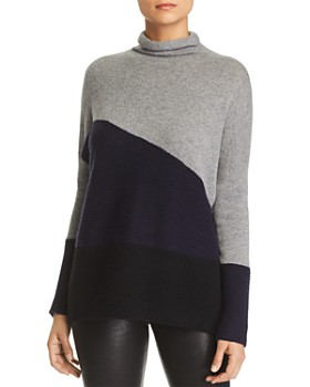 C by Bloomingdale's - Rib-Knit Detail Color-Block Cashmere Sweater - 100% Exclusive