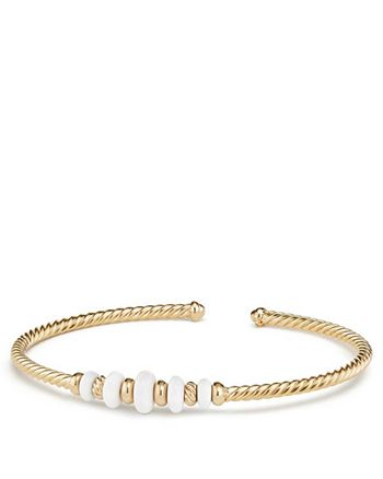 David Yurman - Rio Rondelle Cabled Cuff Bracelet with White Agate in 18K Yellow Gold