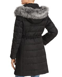 kate spade new york - Belted Faux Fur Trim Puffer Coat