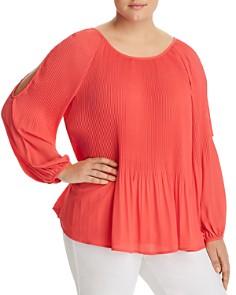 Estelle Plus - Pleated Cutout-Sleeve Top