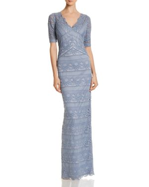ADRIANNA PAPELL Lace Column Gown, Dusty Blue