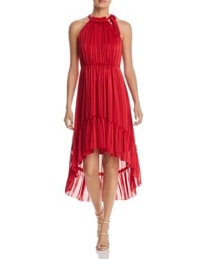 T TAHARI VITALA TONAL-STRIPE HIGH/LOW DRESS