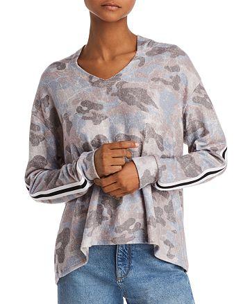 Vintage Havana - Striped-Trim Camo Hooded Sweatshirt