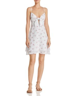 August Cut Out Cherry-Print A-Line Dress in White Cherries