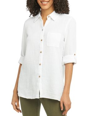 FOXCROFT TAMARA COTTON-GAUZE SHIRT