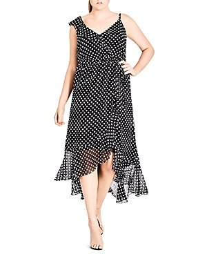 City Chic Plus Dot Print Ruffled Midi Dress