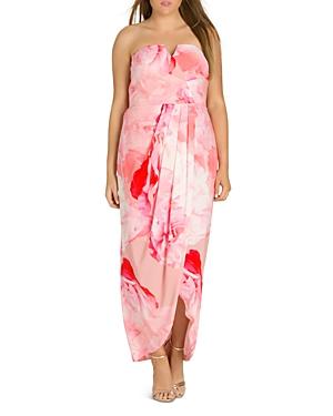 City Chic Plus Girly Rose Strapless Maxi Dress