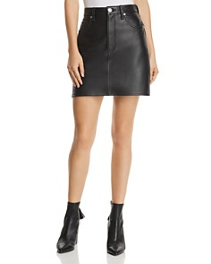rag & bone/JEAN - Moss Leather Mini Skirt