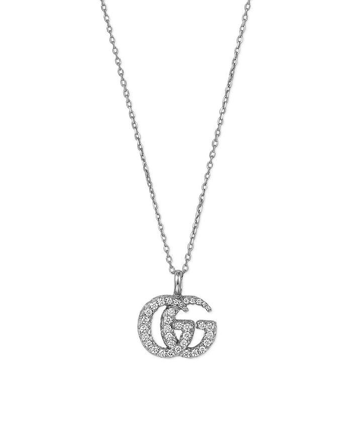 "Gucci - 18K White Gold GG Running Diamond Pendant Necklace, 25.5"""