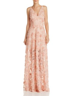 AVERY G FLORAL APPLIQUE GOWN - 100% EXCLUSIVE