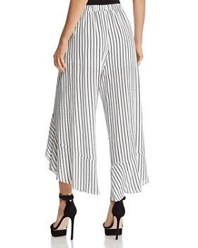 AQUA - Ruffled Striped Tie-Front Pants - 100% Exclusive