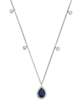 """Bloomingdale's - Blue Sapphire & Diamond Charm Necklace in 14K White Gold, 18"""" - 100% Exclusive"""