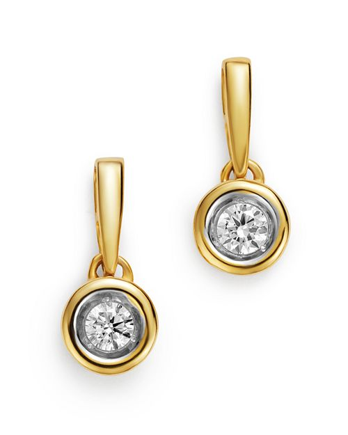 Bloomingdale's - Diamond Bezel Set Drop Earrings in 14K Yellow Gold, 0.20 ct. t.w. - 100% Exclusive