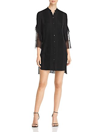 Elie Tahari - Sawyer Pleated Silk Shirt Dress