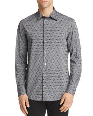 Emporio Armani Flocked Triangle Regular Fit Button-Down Shirt
