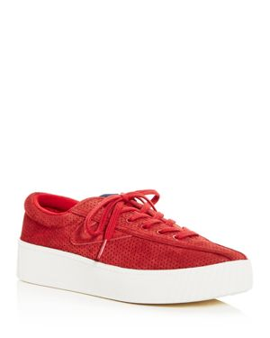 Women'S Nylite Bold Perforated Nubuck Leather Lace Up Platform Sneakers, Formula One/ Formula One