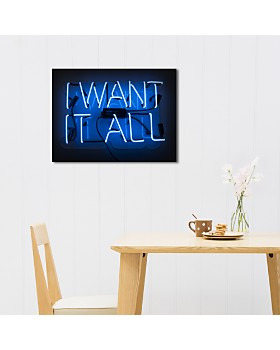 """Oliver Gal - I Want It All Neon Art, 17"""" x 11"""""""