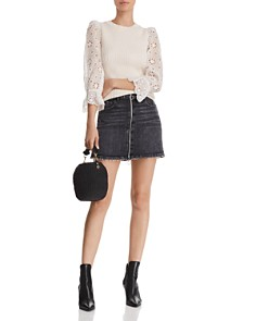 PAIGE - Aideen Denim Mini Skirt in Myra
