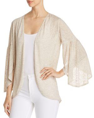 STATUS BY CHENAULT Status By Chenault Open Bell-Sleeve Cardigan in Beige