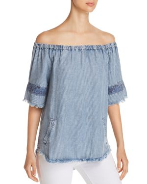 BILLY T OFF-THE-SHOULDER CHAMBRAY TOP