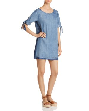 BILLY T TIE-SLEEVE CHAMBRAY DRESS