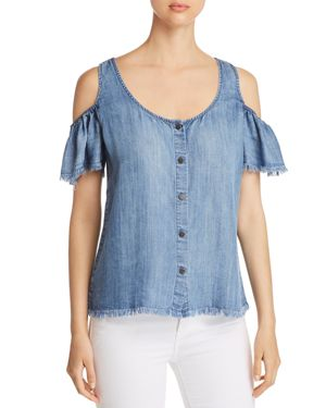 BILLY T COLD-SHOULDER CHAMBRAY TOP