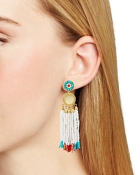 Rebecca Minkoff - Luna Statement Beaded Fringe Drop Earrings