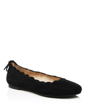 JACK ROGERS Women'S Lucie Scalloped Suede Ballet Flats in Black Suede