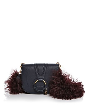 See by Chloé - Hana Small Leather & Lamb Fur Crossbody