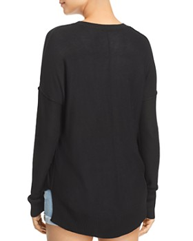 AQUA - Seamed High/Low Sweater - 100% Exclusive