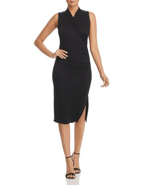 T TAHARI WELMA RUCHED KNIT DRESS