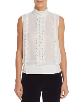 FRAME - Ruffled Button-Back Top