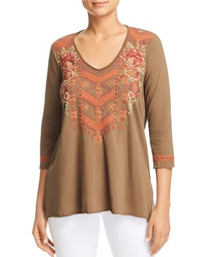JOHNNY WAS ELIM EMBROIDERED DRAPED TOP
