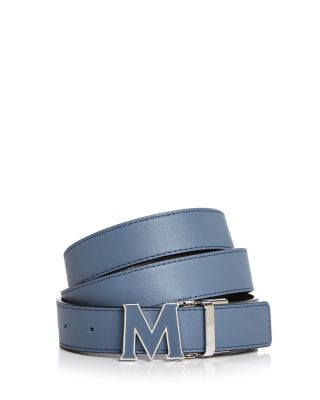 Enamel Logo Buckle Leather Belt by Mcm