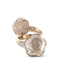 Pasquale Bruni 18K Rose Gold Bon Ton Champagne Diamond & Rock Crystal Floral Cocktail Ring - Bloomingdale's_0