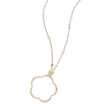 PASQUALE BRUNI 18K ROSE GOLD BON TON TON JOLI DIAMOND & CHAMPAGNE DIAMOND FLORAL PENDANT NECKLACE, 19.75