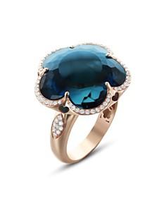 Pasquale Bruni - 18K Rose Gold Bon Ton London Blue Topaz & Diamond Floral Ring