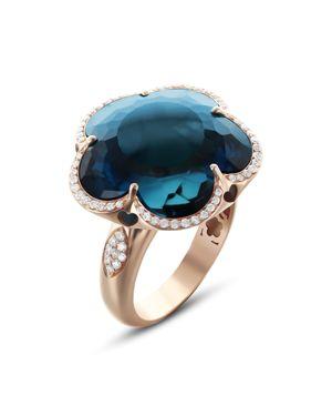 PASQUALE BRUNI 18K ROSE GOLD BON TON LONDON BLUE TOPAZ & DIAMOND FLORAL RING