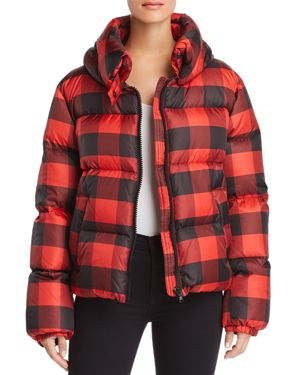 Kendall and Kylie Oversized Plaid Puffer Coat